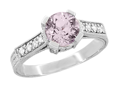 Art Deco 1 Carat Pink Tourmaline Castle Engagement Ring in 18 Karat White Gold