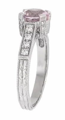 Art Deco 1 Carat Pink Tourmaline Castle Engagement Ring in 18 Karat White Gold - Item R664PT - Image 3