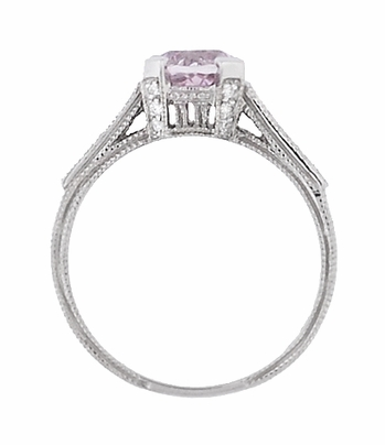 Art Deco 1 Carat Pink Tourmaline Castle Engagement Ring in 18 Karat White Gold - Item R664PT - Image 4