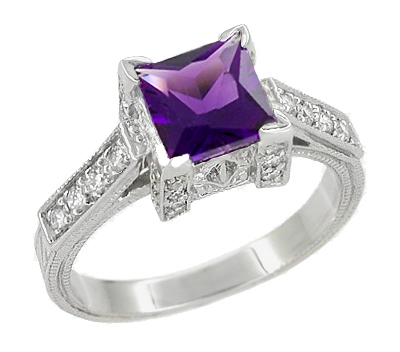 Art Deco 1 Carat Princess Cut Amethyst and Diamond Engagement Ring in 18 Karat White Gold