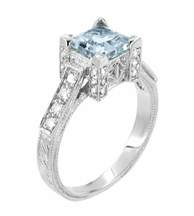 Art Deco 1 Carat Princess Cut Aquamarine and Diamond Engagement Ring in 18 Karat White Gold | Vintage Design - Item R496A - Image 1