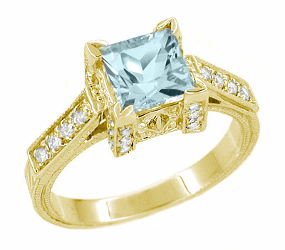 Art Deco 1 Carat Princess Cut Aquamarine and Diamond Engagement Ring in 18 Karat Yellow Gold