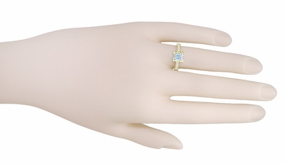 Art Deco 1 Carat Princess Cut Aquamarine and Diamond Engagement Ring in 18 Karat Yellow Gold - Item R496YA - Image 2