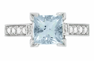 Art Deco 1 Carat Princess Cut Aquamarine and Diamond Engagement Ring in Platinum - Item R495A - Image 3
