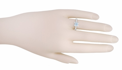 Art Deco 1 Carat Princess Cut Aquamarine and Diamond Engagement Ring in Platinum - Item R495A - Image 5