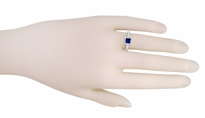 Art Deco 1 Carat Princess Cut Blue Sapphire and Diamond Engagement Ring in Platinum - Item R495S - Image 2