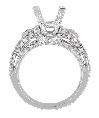 Art Deco 1 Carat Princess Cut Diamond Wheat Engraved Engagement Ring Setting in 18 Karat White Gold with Diamonds and Princess Cut Sapphires - Item R983 - Image 1