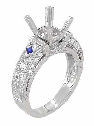 Art Deco 1 Carat Princess Cut Diamond Wheat Engraved Engagement Ring Setting in 18 Karat White Gold with Diamonds and Princess Cut Sapphires - Item R983 - Image 3