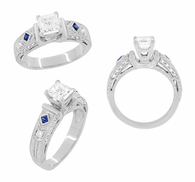 Art Deco 1 Carat Princess Cut Diamond Wheat Engraved Engagement Ring Setting in Platinum with Diamonds and Princess Cut Sapphires - Item R983P - Image 3