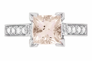 Art Deco 1 Carat Princess Cut Morganite and Diamond Engagement Ring in 18 Karat White Gold - Item R496M - Image 3