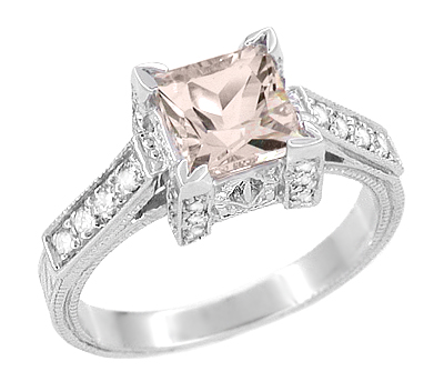 Art Deco 1 Carat Princess Cut Morganite and Diamond Engagement Ring in Platinum