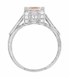 Art Deco 1 Carat Princess Cut Morganite and Diamond Engagement Ring in Platinum - Item R495M - Image 4