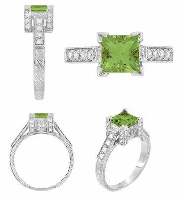 Art Deco 1 Carat Princess Cut Peridot and Diamond Engagement Ring in 18 Karat White Gold - Item R496PER - Image 1