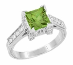 Art Deco 1 Carat Princess Cut Peridot and Diamond Engagement Ring in 18 Karat White Gold
