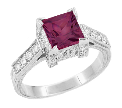 Art Deco 1 Carat Princess Cut Rhodolite Garnet and Diamond Engagement Ring in 18 Karat White Gold