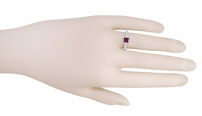 Art Deco 1 Carat Princess Cut Rhodolite Garnet and Diamond Engagement Ring in Platinum - Item R495G - Image 2