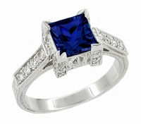 Art Deco Square Castle 1 Carat Princess Cut Blue Sapphire Engagement Ring in 18 Karat White Gold with Diamonds