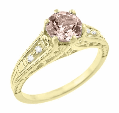 Art Deco 14K Yellow Gold Antique Style Morganite and Diamond Engagement Ring - Item R158YM - Image 1
