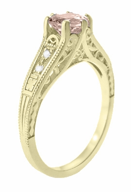Art Deco 14K Yellow Gold Antique Style Morganite and Diamond Engagement Ring - Item R158YM - Image 2