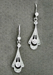 Vintage Inspired 1920s Art Deco 18 Karat White Gold and Diamond Drop Earrings