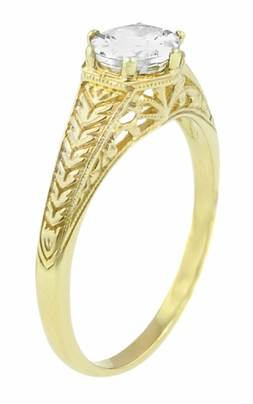Art Deco 18K Yellow Gold Carved Wheat and Scrolls White Sapphire Solitaire Filigree Engagement Ring - Item R688YWS - Image 1