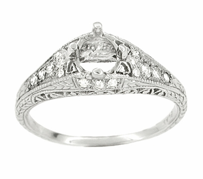 Art Deco 2/5 Carat Diamond Filigree Engagement Ring Setting in Platinum | 5mm - Item R296NS - Image 1