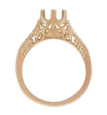 Art Deco 3/4 to 1 Carat Crown of Leaves Filigree Engagement Ring Setting in 14K Rose Gold | 6.0 - 6.5mm Round - Item R299R1 - Image 1