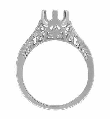 Art Deco 3/4 - 1 Carat Crown of Leaves Filigree Engagement Ring Setting in Platinum | 6mm to 6.5mm Round Stone - Item R299P1 - Image 1