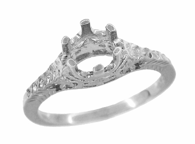Art Deco 3/4 - 1 Carat Crown of Leaves Filigree Engagement Ring Setting in Platinum | 6mm to 6.5mm Round Stone - Item R299P1 - Image 2
