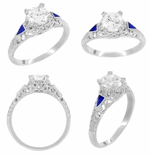 Art Deco 3/4 - 1 Carat Filigree Engagement Ring Setting in 14K White Gold | Sapphire Side Stones - Item R237 - Image 2