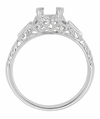 Art Deco 3/4 - 1 Carat Filigree Engagement Ring Setting in 14K White Gold | Sapphire Side Stones - Item R237 - Image 1