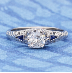 Art Deco 3/4 - 1 Carat Filigree Engagement Ring Setting in 14K White Gold | Sapphire Side Stones - Item R237 - Image 3