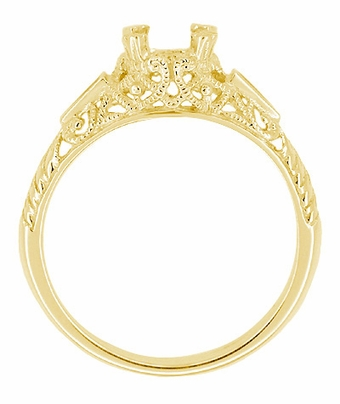 Art Deco 3/4 - 1 Carat Vintage Filigree Engagement Ring Setting in 14K Yellow Gold with Sapphire Side Stones - Item R237Y - Image 1