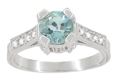 Art Deco 3/4 Carat Aquamarine Castle Engagement Ring in Platinum