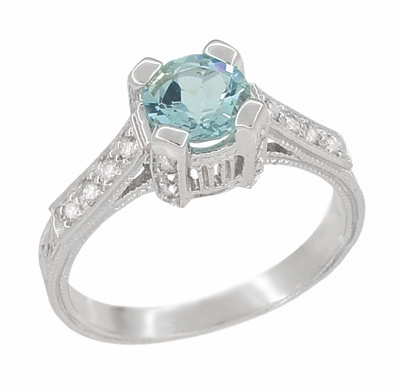 Art Deco 3/4 Carat Aquamarine Castle Engagement Ring in Platinum - Item R665A - Image 1
