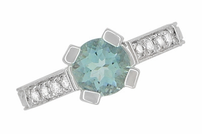 Art Deco 3/4 Carat Aquamarine March Birthstone Castle Engagement Ring in 18 Karat White Gold | Vintage Inspired Aquamarine Engagement Ring - Item R663A - Image 6