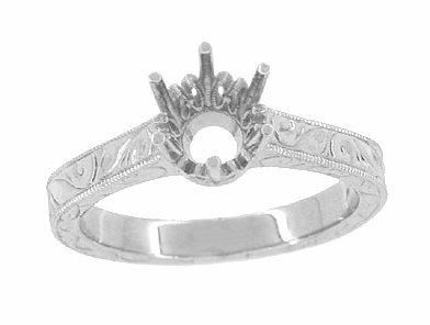 Art Deco 3/4 Carat Crown Filigree Scrolls Engagement Ring Setting in Palladium - Item R199PDM75 - Image 2