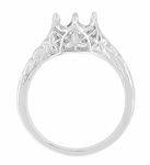 Art Deco Crown of Leaves Filigree 3/4 Carat Engagement Ring Setting in 18 Karat White Gold