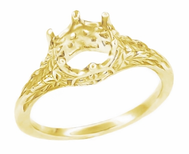 Art Deco 3/4 Carat Crown of Leaves Filigree Engagement Ring Setting in 18 Karat Yellow Gold - Item R299Y - Image 1