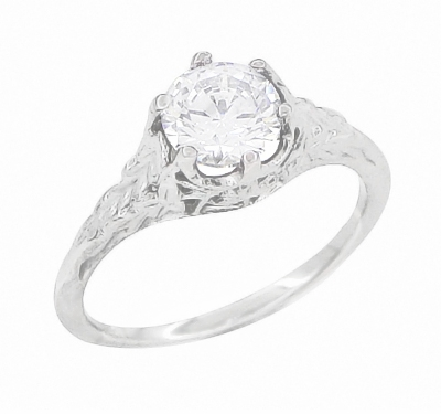 Art Deco 3/4 Carat Crown of Leaves Filigree Engagement Ring Setting in Platinum - Item R299P - Image 4