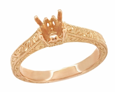 Art Deco 3/4 Carat Crown Scrolls Filigree Engagement Ring Setting in 14 Karat Rose Gold - Item R199PRR75 - Image 1