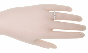 Art Deco 3/4 Carat Crown Scrolls Filigree Engagement Ring Setting in 18 Karat White Gold - Click to enlarge