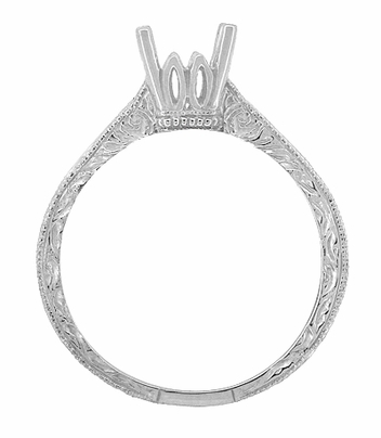Art Deco 3/4 Carat Crown Scrolls Filigree Engagement Ring Setting in 18 Karat White Gold - Item R199PRW75 - Image 3