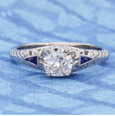 Art Deco 3/4 Carat Filigree Engagement Ring Setting in Platinum with Side Sapphires - Item R237P - Image 3