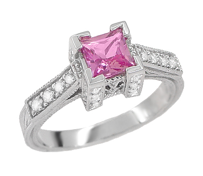 Art Deco 3/4 Carat Princess Cut Pink Sapphire and Diamond Engagement Ring in 18 Karat White Gold