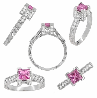 Art Deco 3/4 Carat Princess Cut Pink Sapphire and Diamond Engagement Ring in 18 Karat White Gold - Item R662PS - Image 1