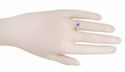 Art Deco 3/4 Carat Princess Cut Pink Sapphire and Diamond Engagement Ring in 18 Karat White Gold - Item R662PS - Image 2