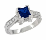 Art Deco 3/4 Carat Princess Cut Blue Sapphire and Diamond Engagement Ring in 18 Karat White Gold
