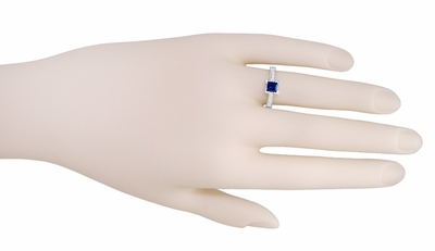 Art Deco 3/4 Carat Princess Cut Sapphire and Diamond Engagement Ring in Platinum - Item R660SP - Image 2
