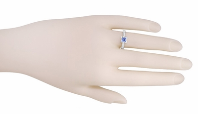 Art Deco 3/4 Carat Princess Cut Tanzanite and Diamond Engagement Ring in 18 Karat White Gold - Item R662TA - Image 2